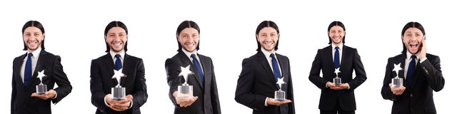 The businessman with star award isolated on white. Businessman with star award isolated on white Royalty Free Stock Photos