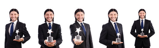 The businessman with star award isolated on white. Businessman with star award isolated on white Stock Photo