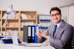 The businessman with star award in office Royalty Free Stock Photo