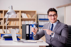 The businessman with star award in office Stock Photography