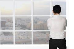Businessman Starring Window Stock Photos