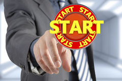 Businessman and start signal. Businessman and start support signal Stock Photography