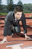 Businessman At Starting Blocks Stock Photos