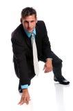 Businessman at Starting Line Stock Photo