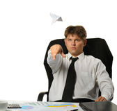 The businessman the starting paper plane Stock Photography