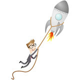 Businessman startup rocket launch. Vector illustration of a cartoon character: Businessman holding on to launching rocket Stock Image