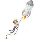 Businessman startup rocket launch. Vector illustration of a cartoon character: Businessman holding on to launching rocket stock illustration