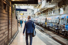 Businessman at the station Royalty Free Stock Images
