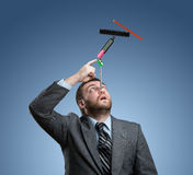 Businessman with stationery Stock Images
