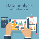 Businessman, statistical, financial  analysis. Tablet in hands businessman, statistical data with charts and diagrams. Workplace documents for financial Royalty Free Stock Image