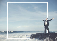 Businessman Staying Alone Island Tranquil Solitude Concept Stock Photos