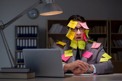 The businessman staying late to sort out priorities. Businessman staying late to sort out priorities royalty free stock photography