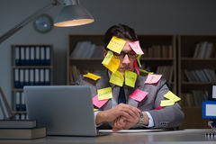 The businessman staying late to sort out priorities Royalty Free Stock Photo