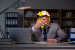 The businessman staying late to sort out priorities. Businessman staying late to sort out priorities royalty free stock photos
