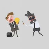 Businessman stealing a good idea. 3D. 