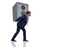 The businessman stealing metal safe from bank stock photo