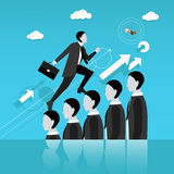 Businessman step on other people head in the way to success. Business concept vector illustration. Stock Image