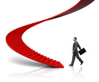 Businessman step to stairway. 3d illustration of businessman step to stairway, startup concept Royalty Free Stock Photography