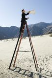 Businessman On Stepladder Using Megaphone In Desert Royalty Free Stock Photos