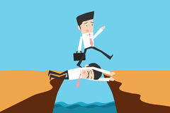 Businessman. Stepping on colleague, teamwork concept stock illustration