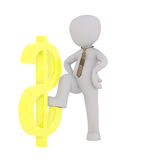 Businessman stepping on dollar sign. Faceless 3D man in necktie standing next to yellow dollar sign stepping onto it, render isolated on white background Royalty Free Stock Photography