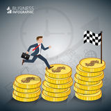 Businessman stepping up the stairs. Businessman stepping up the stairs of gold coins, carrying briefcase. Business growth step infographics option. Template for Royalty Free Stock Photos