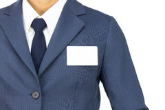 Businessman Stick Business card at Chest Isolated on White Background Royalty Free Stock Photography