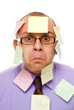 Businessman with sticky notes Stock Photos