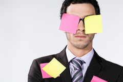 Businessman and Sticky Notes Royalty Free Stock Photos