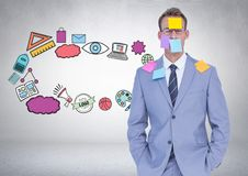 Businessman with sticky notes and creative business graphics drawings. Digital composite of Businessman with sticky notes and creative business graphics drawings Stock Images