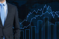 Businessman and stock chart Royalty Free Stock Photos