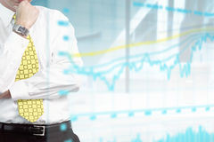 Businessman and stock exchange graph Stock Photo