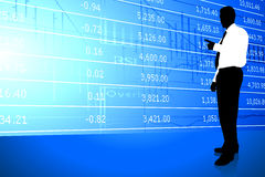Businessman on Stock Market Background Royalty Free Stock Photos