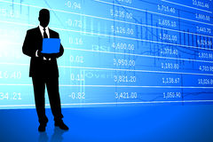 Businessman on Stock Market Background Royalty Free Stock Photo