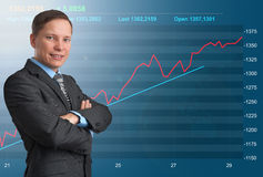 Businessman and stock market graph Royalty Free Stock Images