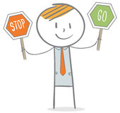 Businessman with stop and go sign. Doodle stick figure: Businessman holdeing stop and go sign Royalty Free Stock Images