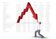 Businessman stopping arrow. Digital composite of businessman stopping arrow royalty free stock photos