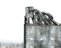 Businessman stopping domino of red fear word falling. On top of concrete wall with cityscape. Domino effect and problem solving of concepts Stock Photos