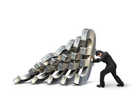 Businessman stopping the falling of Euro money Royalty Free Stock Images