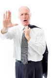 Businessman stopping with hand gesture Stock Photography