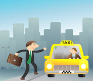 Businessman stops free taxi. Cheerful businessman stops free taxi Stock Image
