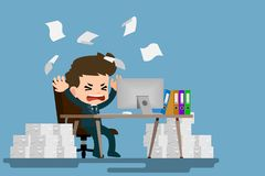 Businessman stress at the desk by a lot of work. Employee character with stack of paper working very hard with the personal comput. Businessman stress at the Stock Photos