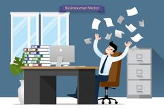 Businessman stress at the desk by a lot of work. Flat vector illustration design of employee character with stack of paper working. Very hard with the personal stock illustration