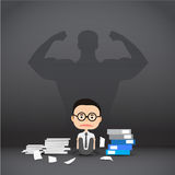 Businessman stress hard work, with shadow man strong background Royalty Free Stock Photo