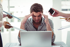 Businessman stressed out at work Stock Images