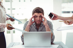 Businessman stressed out at work Royalty Free Stock Image