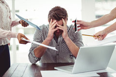 Businessman stressed out at work Royalty Free Stock Photos