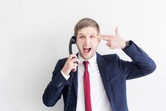 Businessman stressed out at work. royalty free stock images