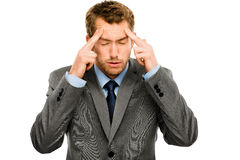 Businessman stressed pressure headache worry isolated on w hite Stock Photos