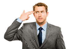 Businessman stressed pressure headache worry isolated on w hite Royalty Free Stock Image